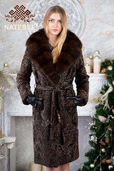 Ladies' women's knee length brown Broadtail Swakara Persian Lamb fur coat with big turndown turn down marten fur collar