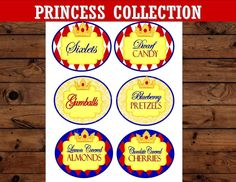 PRINCESS Party - Princess Birthday Party - CANDY LABELS
