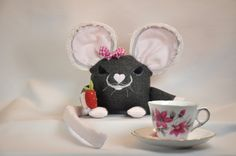 Maisie the little grey Mouse, pillow pet by RainieGarden on Etsy