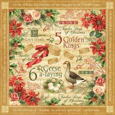 Graphic 45-12 Days of Christmas Collection - 12x12 Dubbelzijdig Papier - Gouden Ringen