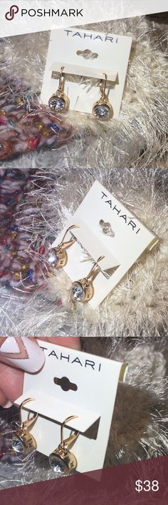 🌸NWT🌸 TAHARI Gold Earrings💎 🌸 Beautiful 💎 earrings with TAHARI wording around the earring. NEW!!! Tahari Jewelry Earrings