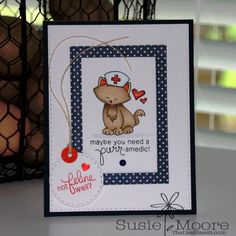 Get well card by Susie Moore for the Simon Says Stamp Wednesday Challenge | Newton's Sick Day Stamp set by Newton's Nook Designs
