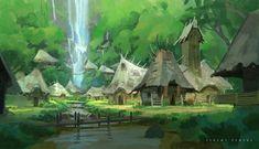 ArtStation - Falls Village 2, Jeremy Fenske Art Village, Village Drawing, Forest Village, Fantasy Village, Fantasy Forest, Forest Art, Fantasy Town, Fantasy Art Landscapes, Fantasy Landscape
