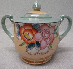 Vintage Japan Green Lusterware Sugar Bowl with Flowers g808