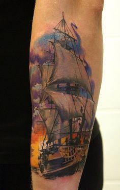 Татуировка: цветной корабль в стиле реализм