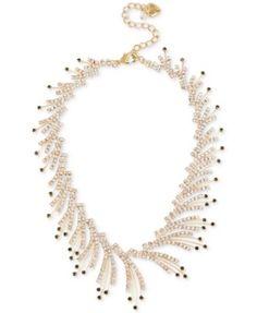 Betsey Johnson Gold-Tone Crystal and Stone Spray Choker Necklace | macys.com