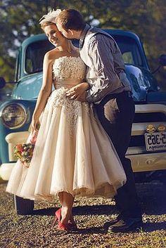 Vestidos de noiva curtos coloridos - Bege