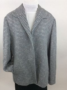 Zanella Womens Blazer Italy Silk Wool Blend sz 14 Lined Pockets Taupe Blue BB11 #zanella #Blazer