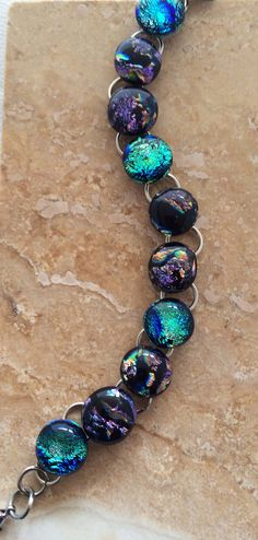 Purple Blue and Green Dichroic Glass Link by 3DGlassDesigns