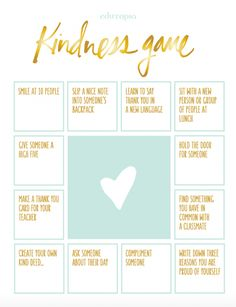 The Kindness Game....encourage caring and thinking of others. #kindness