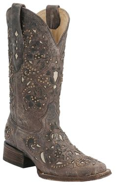 Corral Ladies Distressed Brown with Bone Inlay & Bronze Studs Square Toe Western Boots