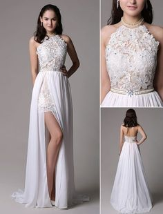 White Prom Dresses 2017 Long Ivory Halter Backless Evening Dress Lace Applique Beading Chiffon Split Party Dress