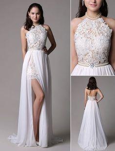 White Prom Dresses 2017 Long Ivory Halter Backless Evening Dress Lace Applique Beading Chiffon Split Party Dress