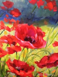 Shall We Dance Poppy Landscape by Floral Artist Nancy Medina, painting by artist Nancy Medina