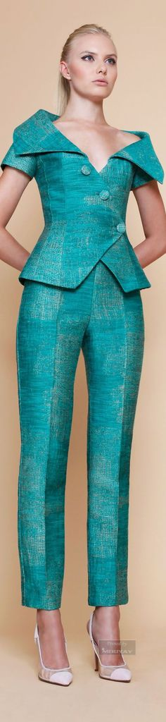 @roressclothes clothing ideas #women fashion cyan jumpsuit Georges Chakra Spring Summer 2015.: