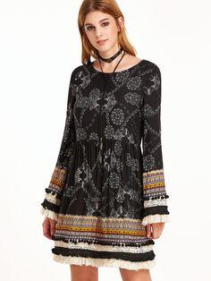 Shop Black Vintage Print Fringe And Pom Pom Trim A Line Dress online. SheIn offers Black Vintage Print Fringe And Pom Pom Trim A Line Dress & more to fit your fashionable needs.
