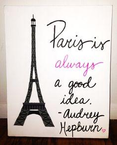 Original Canvas Painting Paris Audrey Hepburn by JordansCanvas, $21.00