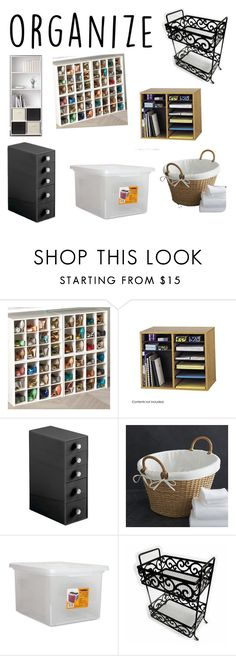 """Organize"" by vacatedpath7 ❤ liked on Polyvore featuring interior, interiors, interior design, home, home decor, interior decorating, Ameriwood, Safco, InterDesign and Crate and Barrel"