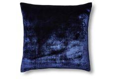 Southern Elegance at One Kings Lane: Silk Velvet/Chambray 22x22 Pillow, Navy
