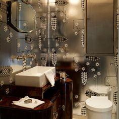 Quirky bathroom wallpaper | East london loft house tour | house tours | housetohome