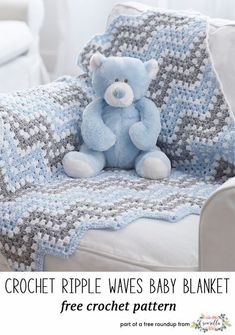 Crochet this easy granny stitch ripple chevron baby blanket from Yarnspirations from my best crochet baby blankets for 2018 free pattern roundup! #CrochetBaby