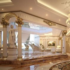 Ready to render high detailed classical scene of a Luxury Entrance Lobby & Lounge Dream House Interior, Luxury Homes Dream Houses, Luxury Homes Interior, Dream Home Design, Modern House Design, Modern Mansion Interior, Interior Design, Design Design, Classic House
