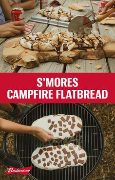 S'mores Pizza Flatbread? Your camping game just got real. Roll dough to a ¼ inch thick, dust with flour, and brush with oil. Cook for minutes on the grill until it starts to bubble. Slather on some marshmallow cream and chocolate squares then grill fo Yummy Treats, Delicious Desserts, Dessert Recipes, Yummy Food, Tasty, Mini Desserts, Grilled Desserts, Oreo Dessert, Camping Meals