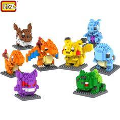 LOZ Blok pendidikan mainan Pikachu Bulbasaur Charmander Squirtle Mewtwo anime Mainan untuk anak-anak Natal hadiah ulang tahun anak