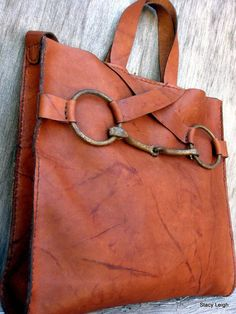 c11168daf95 Equestrian Horse Bit Tote Bag in Rugged Distressed Brown Leather by Stacy  Leigh