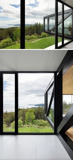Bold black frames on the cantilevered part of this house, match the other frames found throughout the home.
