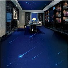 Blue Simple Style Quiet Starry Sky Design Waterproof Splicing 3D Floor Murals