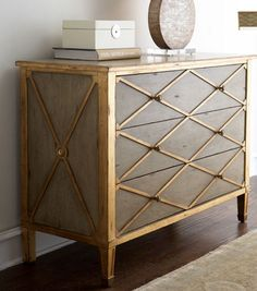 Chest with gold trim - I really like this a lot, especially the diamond pattern on the front. I'm thinking of a way to incorporate this gold look into my kitchen or bathroom. I don't like a shiny perfect gold color but this aged texture (brushed or matte gold) of gold is very attractive.