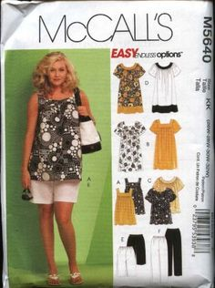 McCall's Sewing Pattern 5640 Woman's Plus Size Easy  Wardrobe Pants Shorts Tops Dress