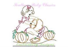 Pumpkin Patch Girl Fall Autumn Vintage Quick Stitch Design