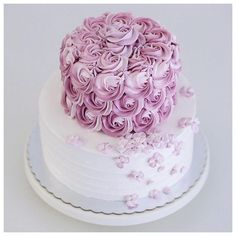 Two tiered rosette and hydrangea buttercream cake Buttercream Cake Designs, Buttercream Flower Cake, 75 Birthday Cake, Tiered Birthday Cakes, 75th Birthday, Teen Birthday, Wedding Cake Toppers, Wedding Cakes, Two Tier Cake