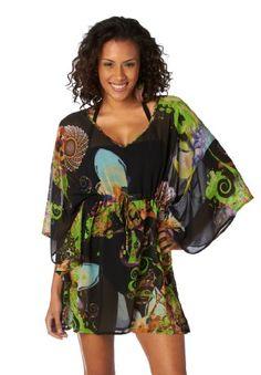 $36 Pacific Beach Plus Swirl Peacock Cover Up Dress BLACK MULTI 1XFrom Pacific Beach $36