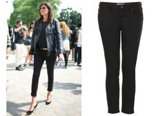 "Nine Pairs of Next-Level Denim Inspired by Our Favorite French Girls  The French Girl: Emmanuelle Alt, Vogue Paris Editor The Jean: A narrow, cropped black jean, slung low around the waist and hitting several inches above the ankle. Take it to your tailor to make sure you've aced the fit, and it'll make everything else you wear look a few extra notches sharper. (Psst: Alt actually prefers this specific Topshop style, too.) CROPPED ""BAXTER"" JEANS, $70, TOPSHOP.COM Photo via FilmMagic"