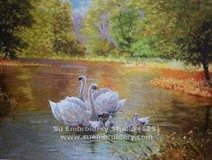 Swans, silk embroidered artwork, Suzhou embroidery, high qualilty silk painting fromSu Embroidery Studio