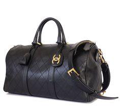 Chanel Black Lambskin Flat Quilt Boston Duffle Bag Vintage
