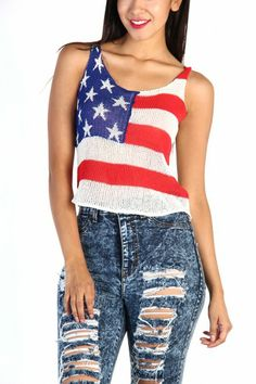 LoveMelrose.com From Harry & Molly | American Flag Knit Top