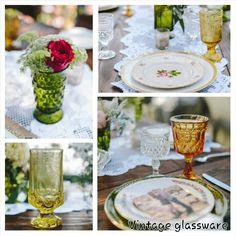 Vintage Colored Glassware, Tuscan wedding,OrangeOwlphoto, #MirassouDinner