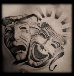 Black and Grey Wash Black and White LA Chicano Gangster Laugh Now Cry Later Masquerade Drama Masks Chest Tattoo Design