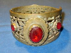 "Bracelet Vintage Gemstone Afghan Kuchi Tribal Alpaca Silver 2.25"" dia."