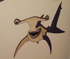 Hammerhead shark - Acrylic on wall.