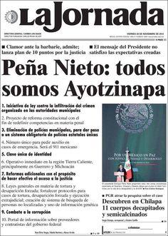 Portada del diario La Jornada del 26 de noviembre de 2014 sobre el Presidente Enrique Peña Nieto y su pronunciación sobre la desaparición de los normalistas de Ayotzinapa.