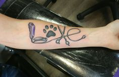 Dog groomer tattoo by joe dillon at www.inktherapynj.com