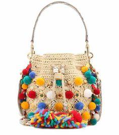 Verzierte Bucket-Bag aus Raffiabast | Dolce & Gabbana
