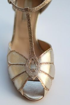 Gold art deco t-bar heels from Rachel Simpson