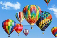 Canvas of Poster Kleurrijke heteluchtballonnen