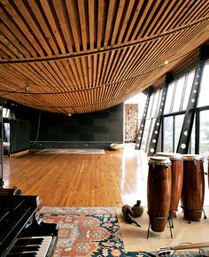 The hand of architect Mickey Muennig at work with this music studio, adjacent to the owner's home in Big Sur, CA | #piano #world #home